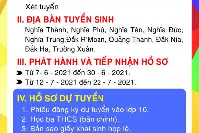 THÔNG TIN TUYỂN SINH 10 NĂM 2021-2022